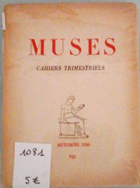 MUSES cahiers trimestriels, automne 1936