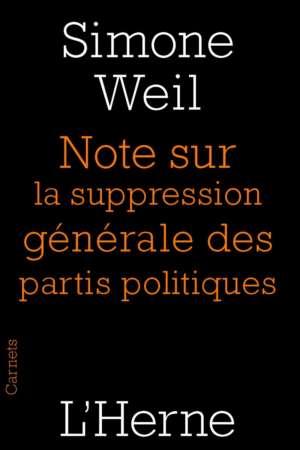 Note sur la supression générale des partis politiques