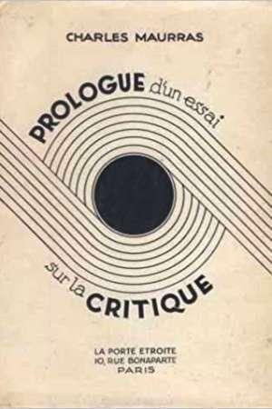 Prologue d'un essai sur la critique