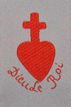 Écusson tissé cœur chouan «Dieu le Roi»